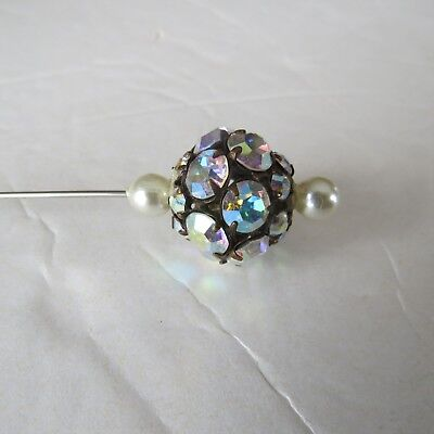 Vintage Ladies Hat Pin - Pearl & Rhinestone