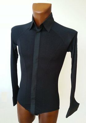 Mens Stretch Crepe Shirt With Body Fitting For Tango, Ballroom. Black