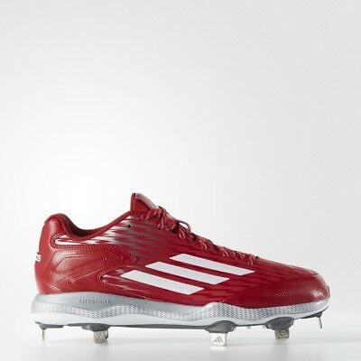 NEW Men s Adidas PowerAlley 3 Low Baseball Cleats S84760 Size 11 Red   White   90 182b24aeab2