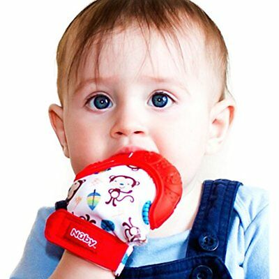 Soothing Teething Teethers Mitten With Hygienic Travel Bag, Red