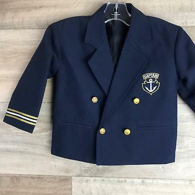 Vintage Boys Navy Blazer Captain size 12 months Jacket Boating Gold Buttons