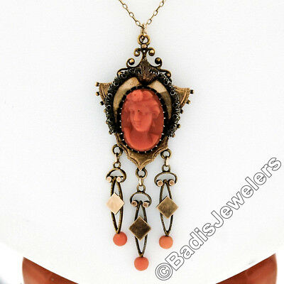 Antique Victorian 14K Gold High Relief Carved Coral Cameo & Bead Dangle Pendant