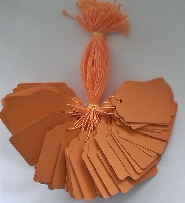 100 Orange Strung Labels 69Mm X 44Mm Swing Tickets Price Tags