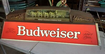 Vintage Budweiser Red Hanging Pool Table Light With Clydesdale Horses