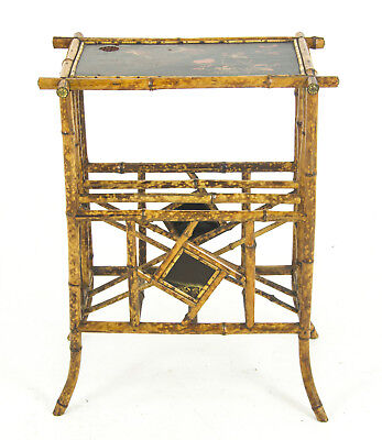 Bamboo Furniture, Antique Magazine Rack, Chinoiserie Panels, Scotland 1880,B1110