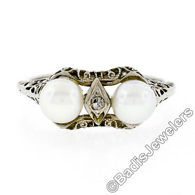 Antique Art Deco 14K White Gold 5.5mm Dual Pearl Diamond Detailed Filigree Ring