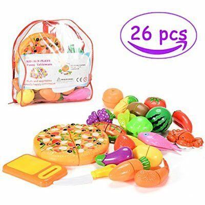 Pretend Cutting Food, 26 PCS Fruits Veggies, Kitchen Play Set For Toddlers Toys