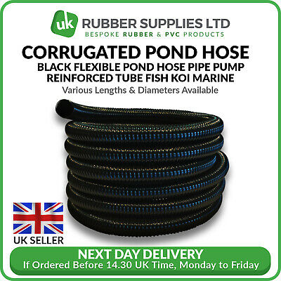 Black Corrugated Flexible Pond Hose Pipe Pump Pipe Flexi Tube Fish Koi NEXT DAY