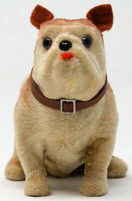 Flocked Bulldog sitting salon dog companion for Jumeau Bleuette Doll