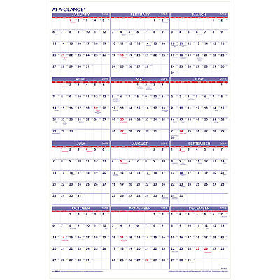 2019 At-A-Glance PM12-28 Yearly Wall Calendar, 24 x 36""