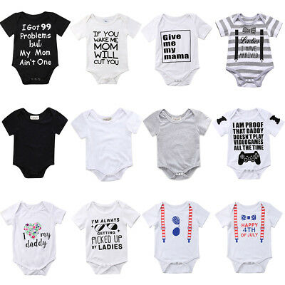 AUStock Infant Baby Boy Girl Short Sleeve Romper Jumpsuit Toddler Summer Outfits