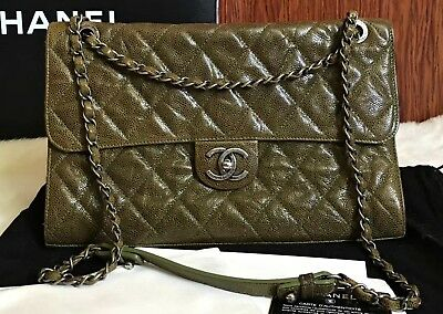 47616797cf80 AUTHENTIC CHANEL GRAINED Calfskin CC Crave Jumbo Flap Bag Army Green ...