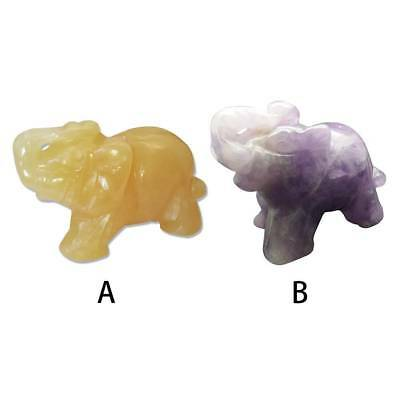 Carved Purple Aventurine Jade Stone Craving Lucky Elephant Feng Shui Statue Gift