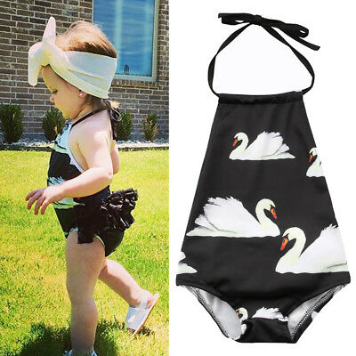 AU Child Baby Kid Girls Swan Bikini Tankini Swimsuit Swimwear Bathing Suit Beach
