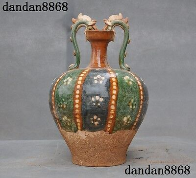 China Ancient Porcelain Pottery Tang dynasty San Cai Phoenix Bottle Pot Vase Jar