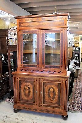 French Antique Inlaid Purl Walnut Buffet Furniture Bookcase Display Cabinet