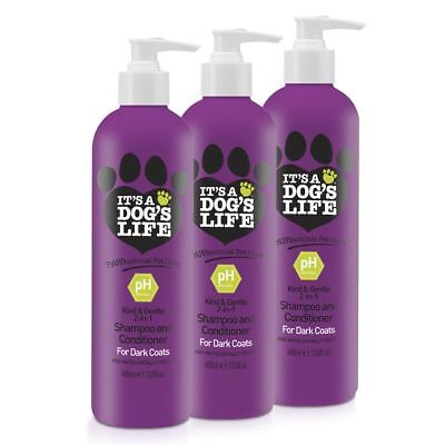 It's A Dog's Life 2 in 1 Shampoo and Conditioner for Dog Fur Dark Coats 3 Pack