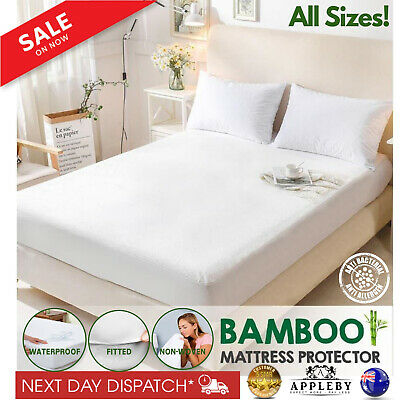 Luxury Bamboo Mattress Bed Matress Protector Waterproof Queen King Single Double