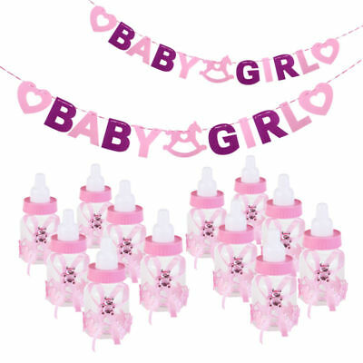 12x Candy Box Baby Shower Bottle Christening Party Favours BABY GIRL BOY Banner