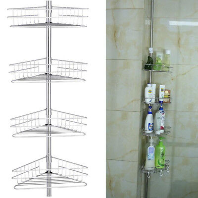 Stainless Steel Telescopic Shower Caddy Bathroom Corner Shelf Tidy Basket 4 Tier