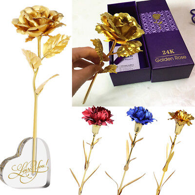 24k Gold Plated Foil Carnation Rose Flower for Anniversary Mother's Day Gift+Box