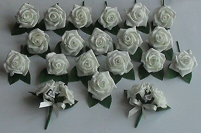 Ivory White Rose Flower Buttonhole Diamante Corsage Wedding Roses Package