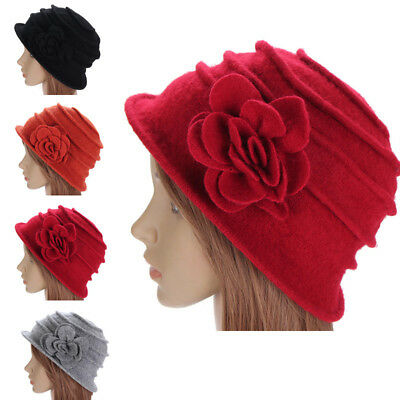 Elegant Vintage Women Wool Church Cloche Flapper Bucket Winter Flower Cap Hat