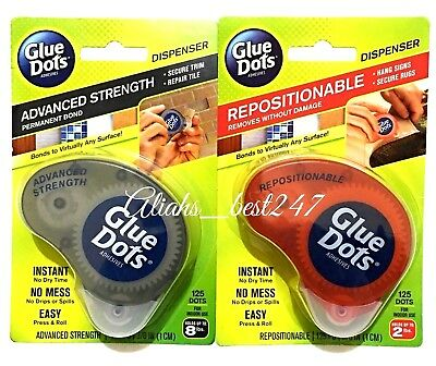 Glue Dots Adhesive Instant Bond Removable and Permanent Dispenser with 125 Dots.
