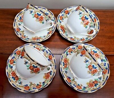 Royal Albert Crown China x4 Cups & Saucers - Floral Scrolls 7573 c1927
