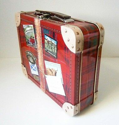 COLLECTABLE WALKERS 250G RED TARTAN SUITCASE BISCUIT TIN Embossed Travel Labels