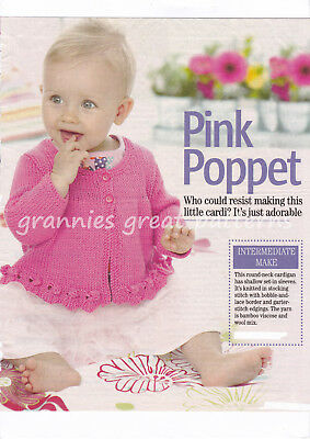 7 YEARS 8971 LULLABY DK KNITTING PATTERN PRETTY BABY GIRLS CARDIGAN  6m