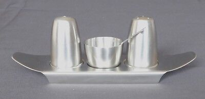 Vintage Brushed Stainless Steel Old Hall Cruet Set by Robert Welch