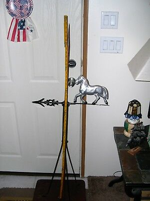 Antique Trotting Horse Directional Arrow Lightening Rod/Weather Vane, Copper Tip