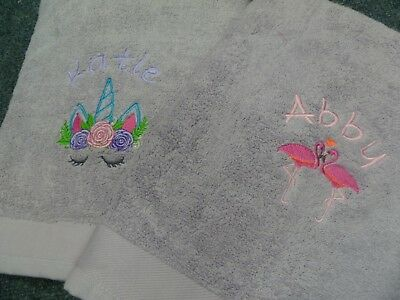New Personalised Embroidered Flamingo holiday beach Bath Towel with Any One Name