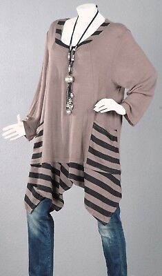 110 PREMIUM Pullover Tunika Longpullover A-Linie Top Bluse Shirt Wolle 54 56 //2