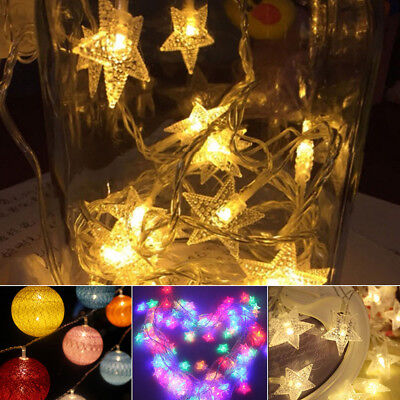 LED Colorful Ball Fairy Star Lights with Stars String Wire Party Home Decor US