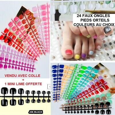 Lot 24 Faux Ongle Orteil Pied Couleur Au Choix Tips Capsules Colle Lime  Ong020