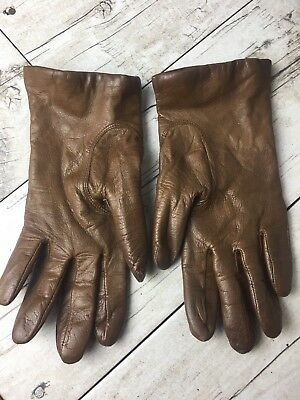 FOWNES Brown Leather Gloves Women's Size 7 Vintage?