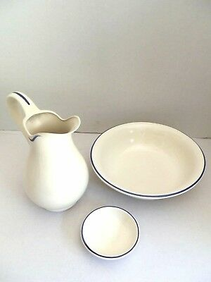 Set TOILET bowl pitcher saucer ceramics MADE IN FLORENCE DECORATION BLUE WHITE