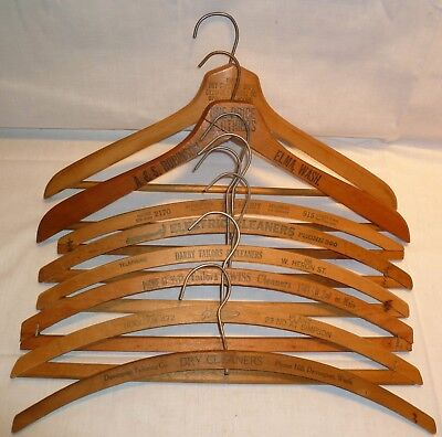 LOT OF 8 VTG WOOD CLOTHES HANGERS w/ ADVERTISING