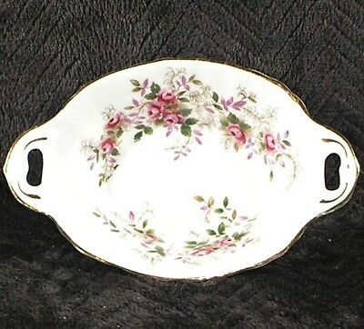 Vintage Royal Albert Lavender Rose Oval Sweetmeats Candy Nut Dish w/ Handles