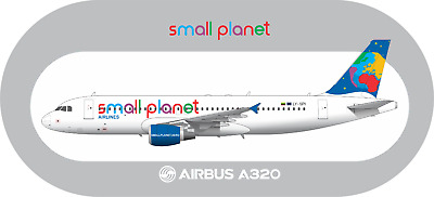 Airbus A320 Small Planet aircraft profile sticker