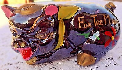 """Vintage Hand Painted Redware Ceramic Piggy Bank - """"for The Mink"""" - Made In Japan"""