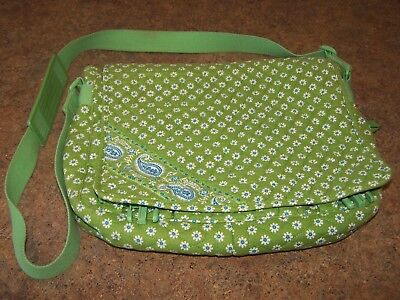 b7d7956aed VERA BRADLEY LAPTOP Messenger Bag Blue Green Made in the USA ...