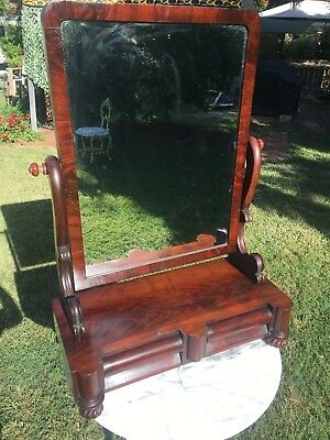 Antique Victorian Flame Mahogany Tilting Toilet Mirror With 2 Trinket Draws