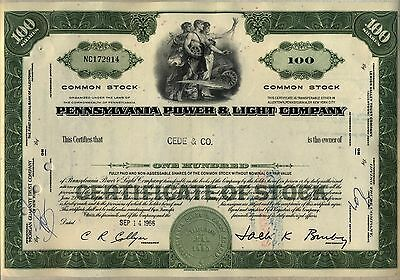 Pennsylvania Power & Light Company Stock Certificate PPL Allentown