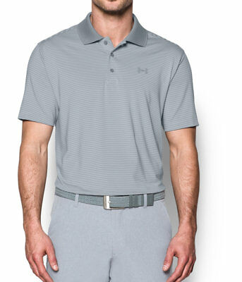Men's Under Armour UA Release S/S Golf Polo Shirt NEW Steel/White, MSRP $65