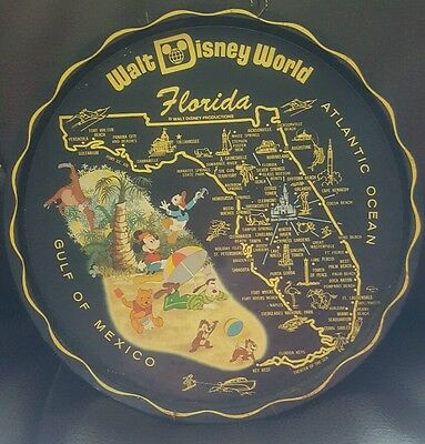 vintage walt disney world Florida metal tray blck 70's mickey pooh donald goofy