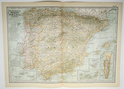 Map Of Spain To Print.Antique Spain Portugal Map Xl Andorra Old Print Vintage Art 1897