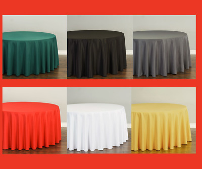 Bulk Sale 108 in. Round Polyester Tablecloth - 10/20/30/50 PK - 33 Colors Event
